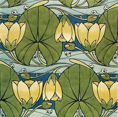 'Waterlilies' textile design by Harry Napper, produced by G P & J Baker in 1905