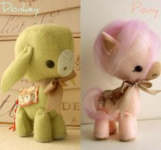 Pony and Donkey pdf Pattern by Gingermelon .another cute pair! Sewing Crafts, Sewing Projects, Felt Projects, Sewing Ideas, Sewing Patterns, Diy Projects, Felt Crafts, Diy Crafts, Wet Felting