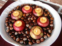 Floating acorns and apples centerpiece #fall #entertaining Perfect for ambient lighting at a fall wedding!