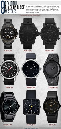 Black on black watches. The Diesel and the Fossil are so him