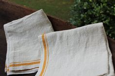 Vintage Linen Towels  Super Nubby with Yellow by catnapcottage
