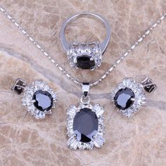 Black Sapphire White Topaz Silver Jewelry Sets Earrings Pendant Ring For Women Size 6 / 7 / 8 / 9 / 10 Free Gift Bag S0085  #rings #jewelry #weddingbands #jewelrysets #bracelets