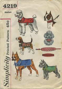 Vintage Dog Clothes Sewing Pattern | Dogs' Coats and Collar Trim | Simplicity 4219 | Year 196? | Size Medium