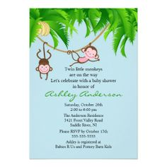 baby shower ideas for twins | Safari Twin Monkeys Baby Shower Invitation from Zazzle.com