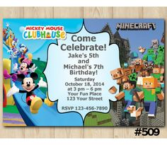 Twin Mickey Mouse and Minecraft Birthday Invitation | Personalized Digital Card