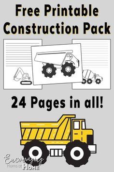 Road Construction Printable: Handwriting, Notebooking and Coloring Pages Free Printable Pack Construction themeFree Printable Pack Construction theme Construction Theme Classroom, Construction Crafts, Road Construction, Construction Birthday Parties, Classroom Themes, Construction Business, Construction Design, Construction Bulletin Boards, Build A Better World