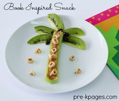 Chicka Chicka Boom Boom Celery and Kiwi Snack for Preschool or Kindergarten. Super fun and easy snack to make after reading the classic children's book Chicka Chicka Boom Boom