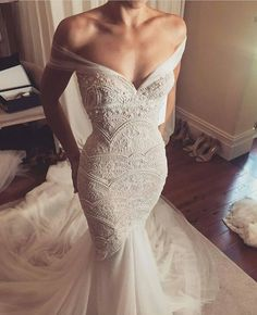 Off Shoulder Mermaid Exquisite Beaded Low Back Sexy Wedding Dress sexy gorgeous mermaid bridal gown,mermaid wedding dress off shoulder beaded Sexy Wedding Dresses, Bridal Dresses, Beaded Wedding Dresses, Backless Wedding, Popular Wedding Dresses, Modest Wedding, Gown Wedding, Fishtail Wedding Dresses, Formal Dresses