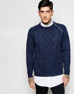 Cool Only & Sons Cable Knit Jumper with Side Zip & Nep Yarns - Navy Only & Sons Jumpers & Cardigans til Herrer i dejlige materialer