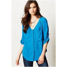 """Anthropologie Edme & Esyllte Estrie Henley In Blue  Edme & Esyllte from Anthropologie. Size 10 (aka a large). Originally $68 on the official Anthropologie website. """"When it comes to basics, we can't get enough of easy, thoughtful pieces that go beyond the call of casual duty. Edme & Esyllte's silky Henley instantly upgrades your jeans-and-tee routine."""" Had the cutest polka dots along the inside of the collar.  Anthropologie Tops Blouses"""