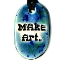 Make Art Ceramic Necklace in Blues by surly on Etsy, $18.00