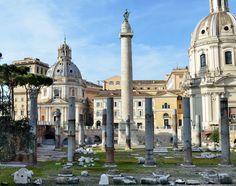 107-TRAJAN-(98AD TO 193AD)-SEVERAN DYNASTY: The Columns of Trajan and remains of the basilica Ulpia, Rome.