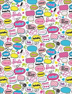 Barbie Words Cotton Fabric