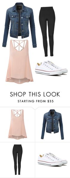 """""""Fun out and about outfit"""" by brimcd ❤ liked on Polyvore featuring Glamorous, LE3NO, Topshop and Converse"""