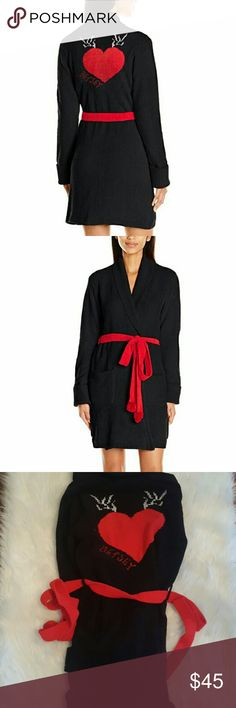 Cozy Sweater Robe Brand new with tags! Size medium however can fit a small to large in my opinion! This robe is unbelievablely soft! Really has a soft sweater feel rather than a normal robe feel. 100% polyester  Offers welcome! Betsey Johnson Intimates & Sleepwear Robes