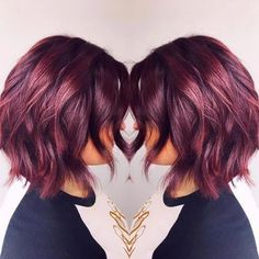 38 Best Burgundy Hair Ideas of 2019 – Yummy Wine Colors Go ahead and grab a glass of red with your hair colorist and choose from these 20 stunning wine-inspired shades of burgundy hair color! - Station Of Colored Hairs Hair Color Shades, Red Hair Color, Color Red, Color Tones, Maroon Hair, Curly Hair Styles, Natural Hair Styles, Wine Hair, Hair Colorist