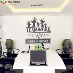 """Office Wall Stickers Vinyl Decal Art - Office Mural Decor - Office Sticker - """" Teamwork makes the dream work """" Quotes Decal"""