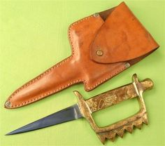 Triple Treat, Trench Knife, Cool Knives, Metal Projects, Brass Handles, Ocean City, Swords, Solid Brass, Inventions