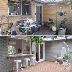 IT'S A KIND OF MAGIC: OUR SPRAYING BRICK RENO HACK Wanna know a magic trick that will totally transform your home on a budget? I can't promise you'll be pulling a white rabbit out of a hat, but definitely a white house. Or a grey one, or black… Casa Patio, Backyard Patio, Indoor Outdoor, Outdoor Living, Architecture Renovation, House Makeovers, Home Exterior Makeover, Exterior Remodel, Diy Exterior