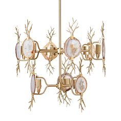 Finish: Satin Brass/Natural Agate  A double tier chandelier with organic flair combining natural agate and cast branch accents.  Emporium Home products are made with natural stones. Variations in the stone colors should be expected and are not considered defects. Stones can be hand selected. Additional fees will apply. Please call for details.