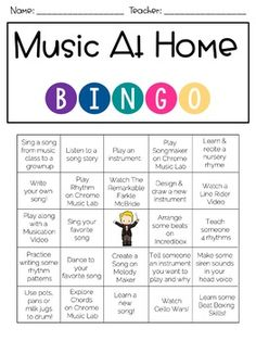 Music At Home Bingo - sarina Online Music Lessons, Elementary Music Lessons, Music Lessons For Kids, Music Lesson Plans, Kindergarten Music Lessons, Music Games For Kids, Preschool Music Activities, Music Education Activities, Education Banner