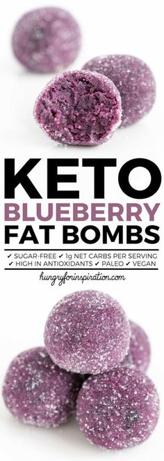 Healthy Blueberry Keto Fat Bombs! Don't they look absolutely gorgeous? No Food coloring or Photoshop used, only natural blueberry goodness. Super Easy Keto Snacks Idea - one fat bomb only has 1g net carbs. Paleo, Vegan & Gluten-free! #keto #ketodiet #ketorecipes #ketodessert #ketosnacks #lowcarb #lowcarbrecipes #lowcarbdiet #lchf #lowcarbsnacks