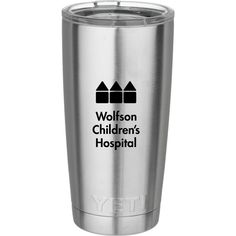 personalized YETI tumbler, a custom laser etched Rambler that can include your name or brand logo. Unique Christmas Gifts, Christmas Gift Guide, Personalized Tumblers, Childrens Hospital, Stainless Steel, Mugs, Children's Clinic, Tumblers, Mug