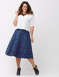 A floral skirt in the most versatile shape we've seen all season. Plus, it features the super-flattering double weave stretch and polished-but-easy vibe that makes our Modernist collection so good. Slash pockets. Back zipper closure.  lanebryant.com