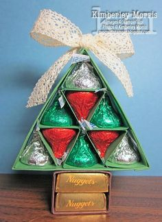 LOVE these trees.they are SUPER simple, quick and easy to make with Brenda Qui., these trees.they are SUPER simple, quick and easy to make with Brenda Quintana's directions. Click through for a link to Brenda's tutorial. Christmas Favors, Noel Christmas, Winter Christmas, Christmas Ornaments, Handmade Christmas, Christmas Gifts For Coworkers, Simple Christmas, Christmas Projects, Holiday Crafts