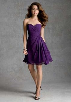 Bridemaid Dress Style Idea.  I like it in purple, but it would look good in navy as well!