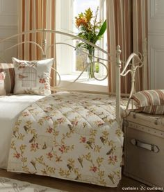 Vintage teracotta bedspread with a lovely bird pattern #cncfavouritethings