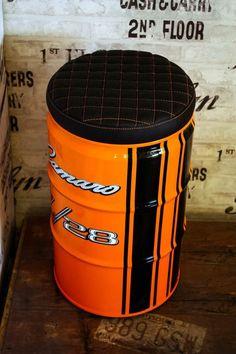 Drum Seat, Drum Chair, Oil Barrel, 55 Gallon Drum, Barrel Furniture, Oil Drum, Outdoor Restaurant, Luxury Garage, Scrap Metal Art
