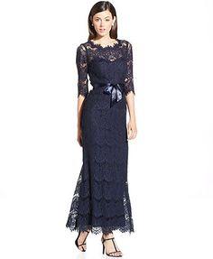 2ea89ac5293 Xscape Illusion Lace Ribbon-Belt Gown Women - Dresses - Macy s