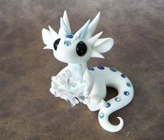 White Shimmer Dragon with Snowflake
