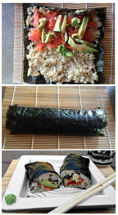 Paleo Sushi Recipe - Spicy Tuna Roll please! Can& wait to try this out! Paleo Chicken Recipes, Sushi Recipes, Spicy Recipes, Raw Food Recipes, Seafood Recipes, Cooking Recipes, Healthy Recipes, Cooking Fish, Paleo Food