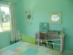Teenage Girls Bedroom: A Teal/Duck egg blue shade with shabby chic, vintage and french influences. Teenage Girl Bedrooms, Girls Bedroom, Bedroom Ideas, Teal Duck, Duck Egg Blue, New Room, Kids Room, Shabby Chic, Curtains