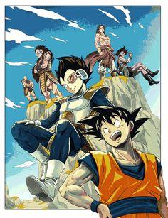 Vegeta, Goku, Raditz, Nappa, Turles, and Broly