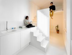 Appartement Spectral par Betillon / Dorval Bory Half wall with pull out bookcase stairs leading up to sleeping loft. Sleeping loft right above entrance. Under sleeping loft, small bathroom and coat closet to store stairs below and coats above.