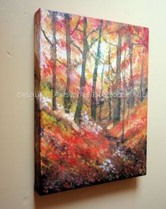 Autumn Woodland Acrylic & Mixed Media Painting on Canvas by Artist Suzie Nichols ( falling leaves trees red yellow orange semi abstract ) - pinned by pin4etsy.com