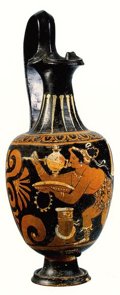 Canosan red figure oinochoe with female acrobat with mirror and phiale. Muses and Masks. Theatre and Music in Antiquity (in Russian) (exhib. cat. St Petersburg 2005) no. 45 (colour ill.). B. 485. Ht 25.7cm.                           Special thanks to Prof. J.R. Green