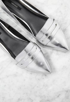 Silver metallic Pointed Faux Leather Loafers on ShopStyle now!