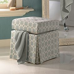 This would be handy (and cute!) in my bedroom.... a Lattice Tufted Vanity Stool by Linon Home Decor