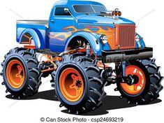 Vector - Cartoon Monster Truck - stock illustration, royalty free illustrations, stock clip art icon, stock clipart icons, logo, line art, EPS picture, pictures, graphic, graphics, drawing, drawings, vector image, artwork, EPS vector art