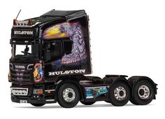 Corgi 1:50 Scania R Diecast Model Lorry CC13780 This Scania R Topline Tractor Unit Diecast Model Lorry is Black and features working wheels. It is made by Corgi and is 1:50 scale (approx. 13cm / 5.1in long). Established in 1988, John Hulston's haulage company has a long association with Scania, having transported a load of straw with a Scania 86, from Glenfarg to the Isle of Seil, as their very first load. This particular Scania R560 Topline, V3 JAH, features a series of stunning…
