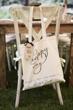 Favor bags: http://www.stylemepretty.com/california-weddings/lake-tahoe-ca/2015/03/11/rustic-lake-tahoe-summer-wedding/ | Photography: Catherine Hall - http://www.catherinehallstudios.com/
