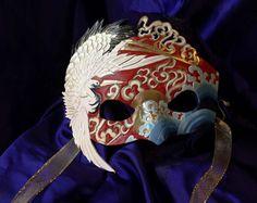 Handmade Leather Mask  Tsuru Japanese Crane Mask by MaskEra, $350.00