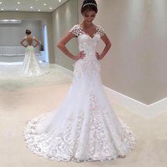 short sleeves wedding dress,vintage wedding gowns,lace mermaid wedding dress