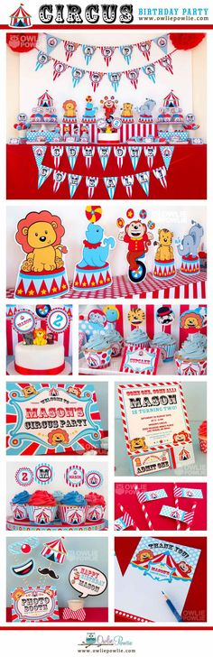 Circus BIRTHDAY Party Printable Package & by OwliePowlie on Etsy, $29.00