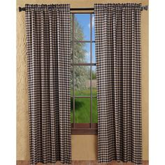 The Bingham Star Curtain Collection is available in a black and creme plaid or an applique star design. The Applique Star curtains have a tan and burgundy body with window pane checks; 5-Point stars appliqued along the bottom in black, red, and creme plaid fabric.