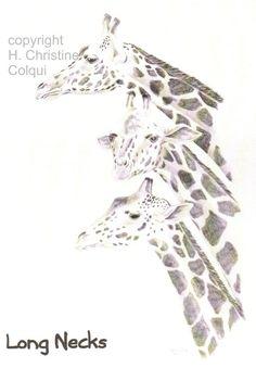 Long Necks fine art print of giraffes size by ChristineColquiArt, $20.00